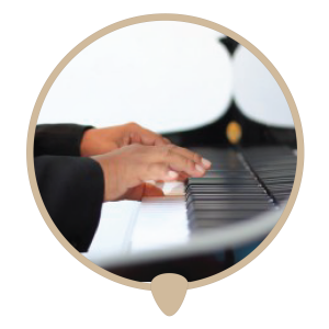 Piano hands left icon - Learn piano. Piano lessons, classes and teachers in Sydney City.